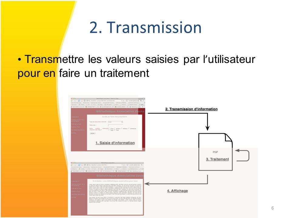 2. Transmission Transmettre les valeurs saisies par l'utilisateur pour en faire un traitement