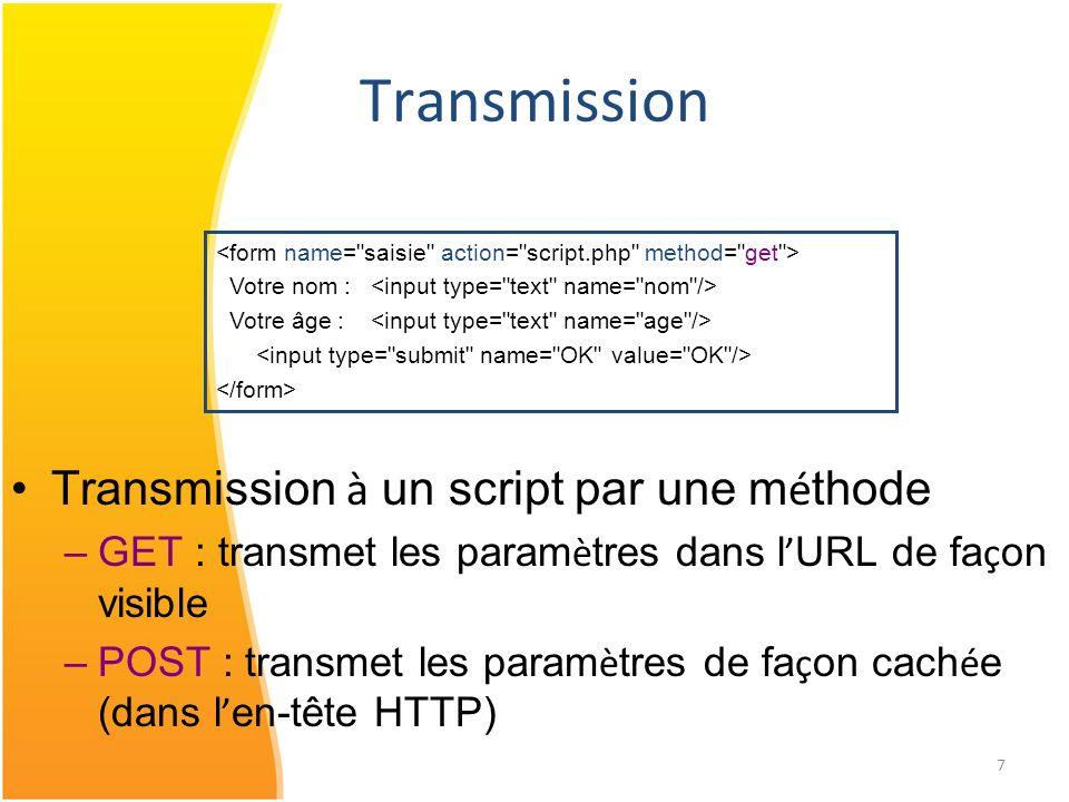 Transmission Transmission à un script par une méthode