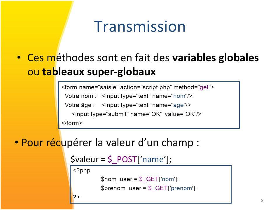 Transmission Ces méthodes sont en fait des variables globales ou tableaux super-globaux. <form name= saisie action= script.php method= get >