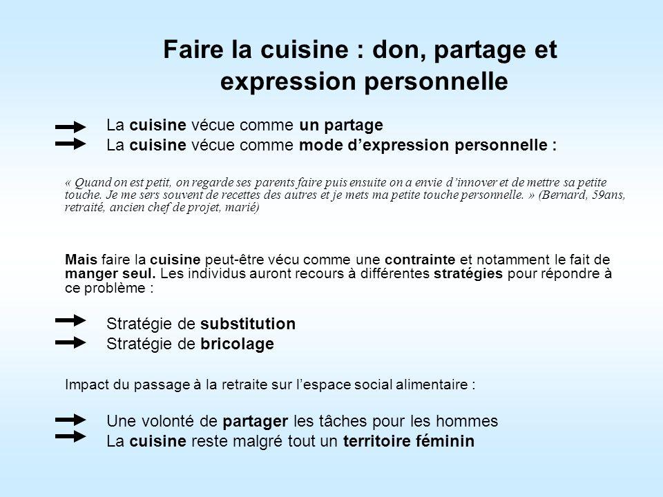 Faire la cuisine : don, partage et expression personnelle