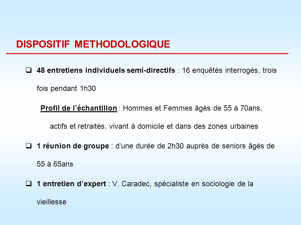 DISPOSITIF METHODOLOGIQUE