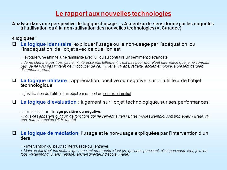 Le rapport aux nouvelles technologies