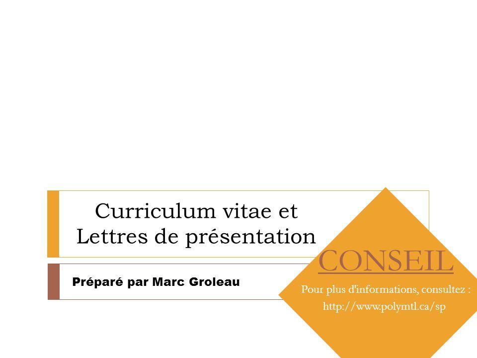 Curriculum vitae et Lettres de présentation