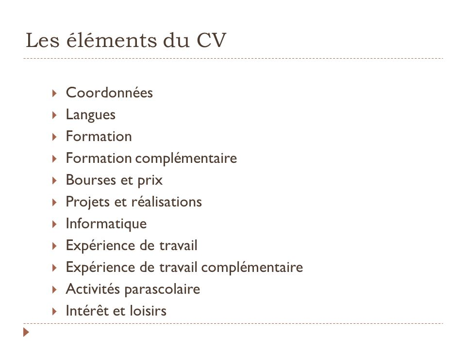 Les éléments du CV Coordonnées Langues Formation