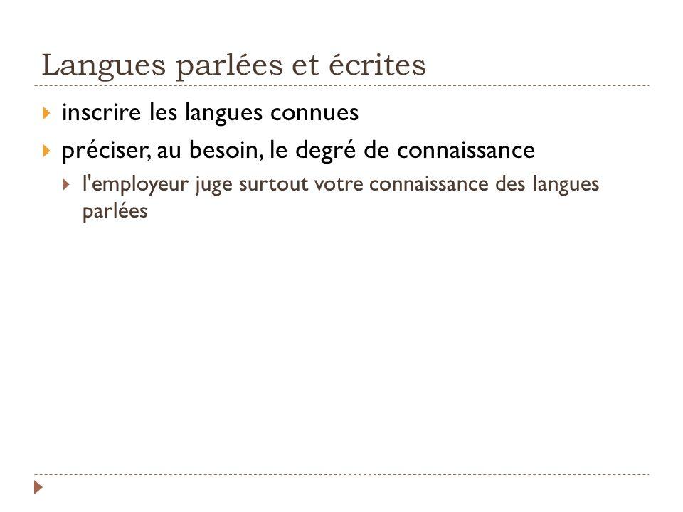 Langues parlées et écrites