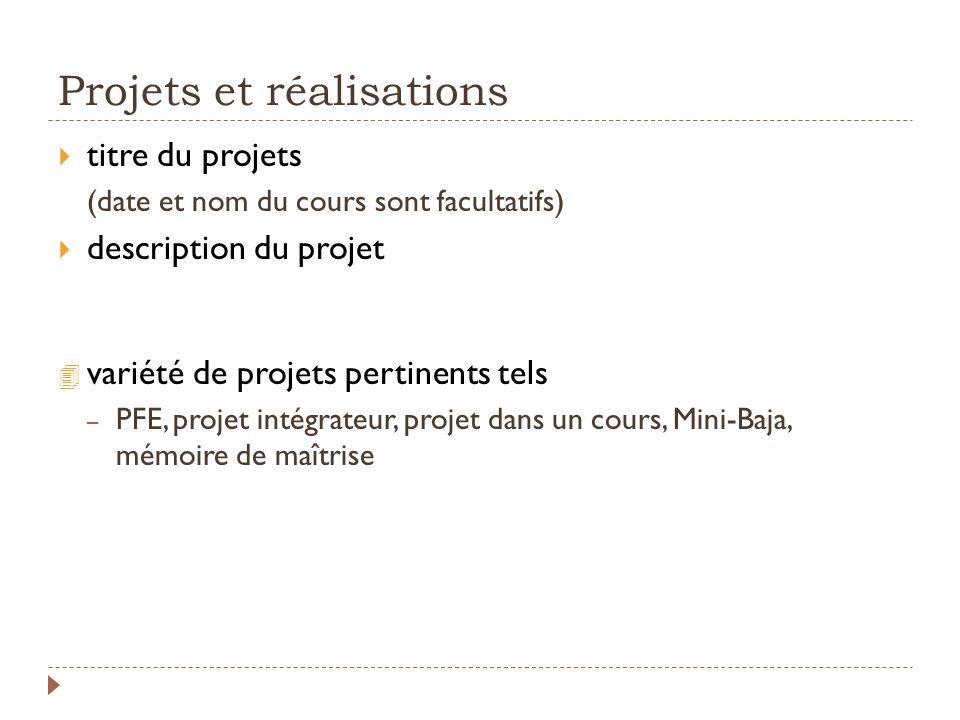 Projets et réalisations
