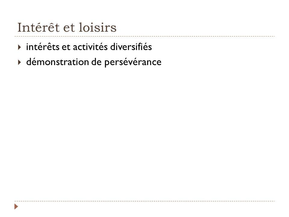 Intérêt et loisirs intérêts et activités diversifiés
