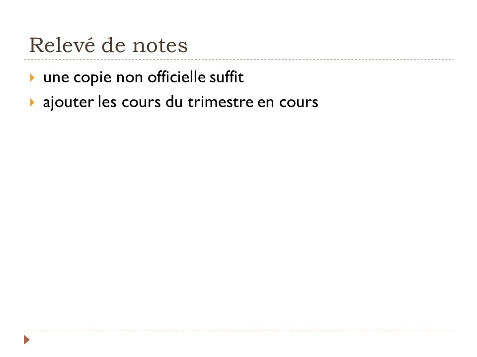 Relevé de notes une copie non officielle suffit