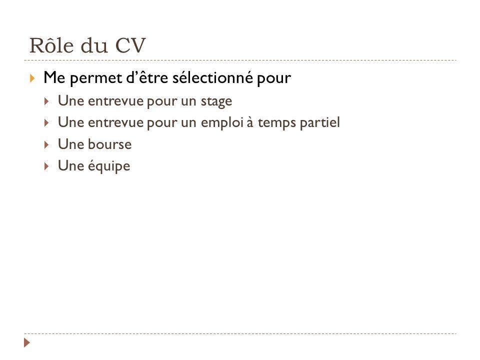 Rôle du CV Me permet d'être sélectionné pour