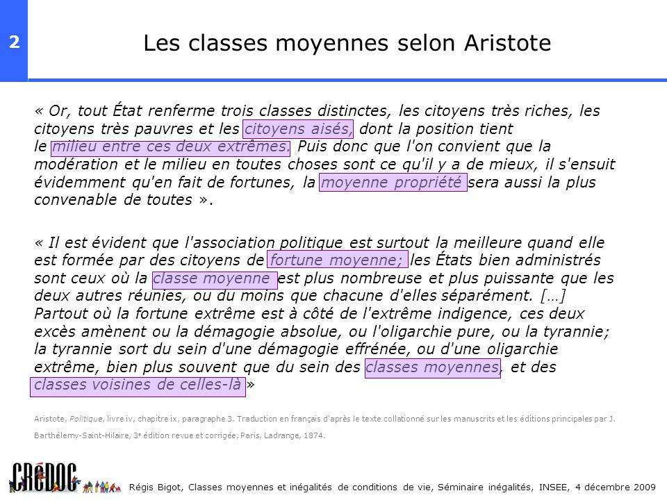 Les classes moyennes selon Aristote