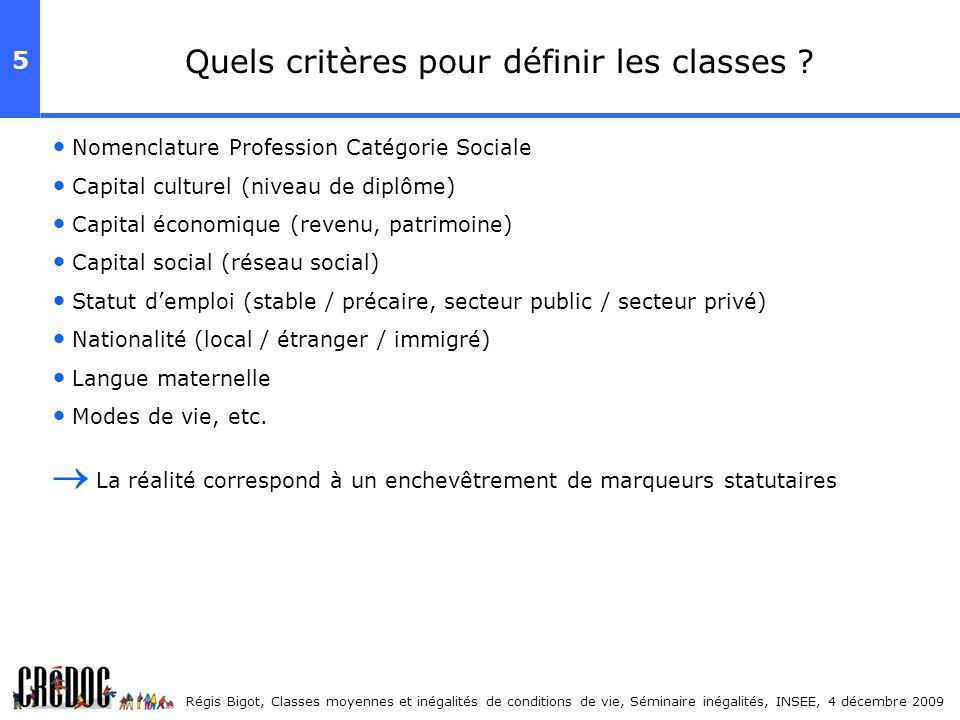 Quels critères pour définir les classes