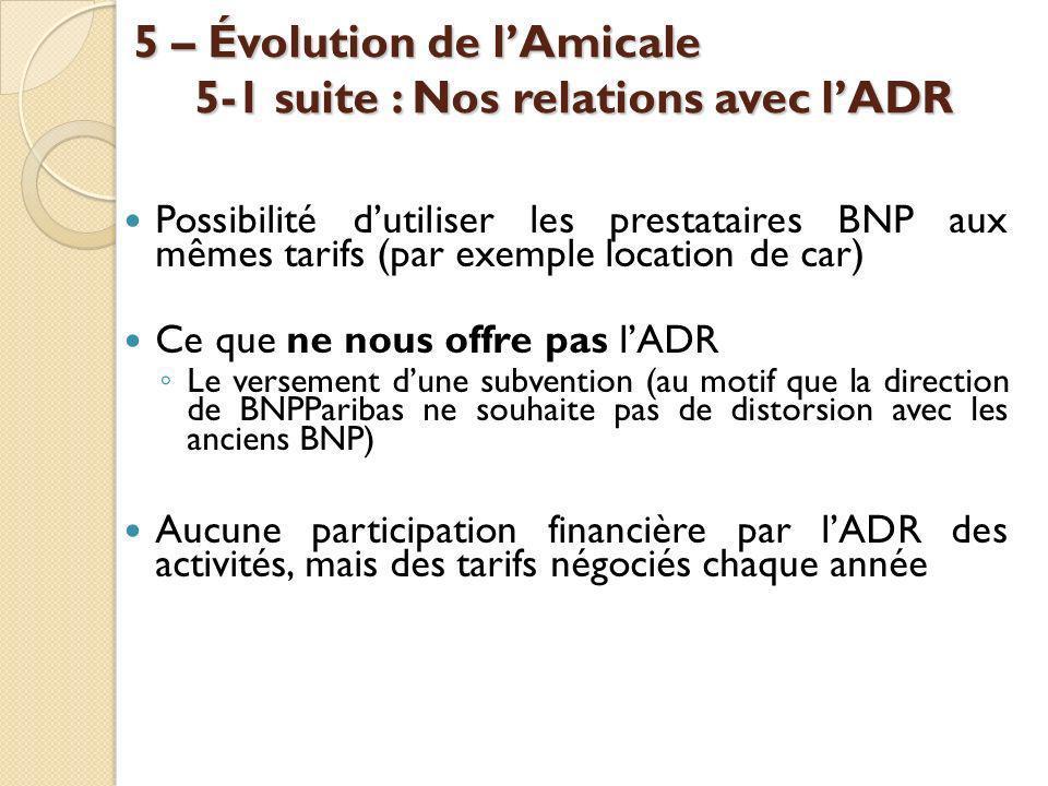 5 – Évolution de l'Amicale 5-1 suite : Nos relations avec l'ADR