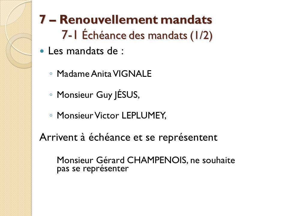 7 – Renouvellement mandats 7-1 Échéance des mandats (1/2)