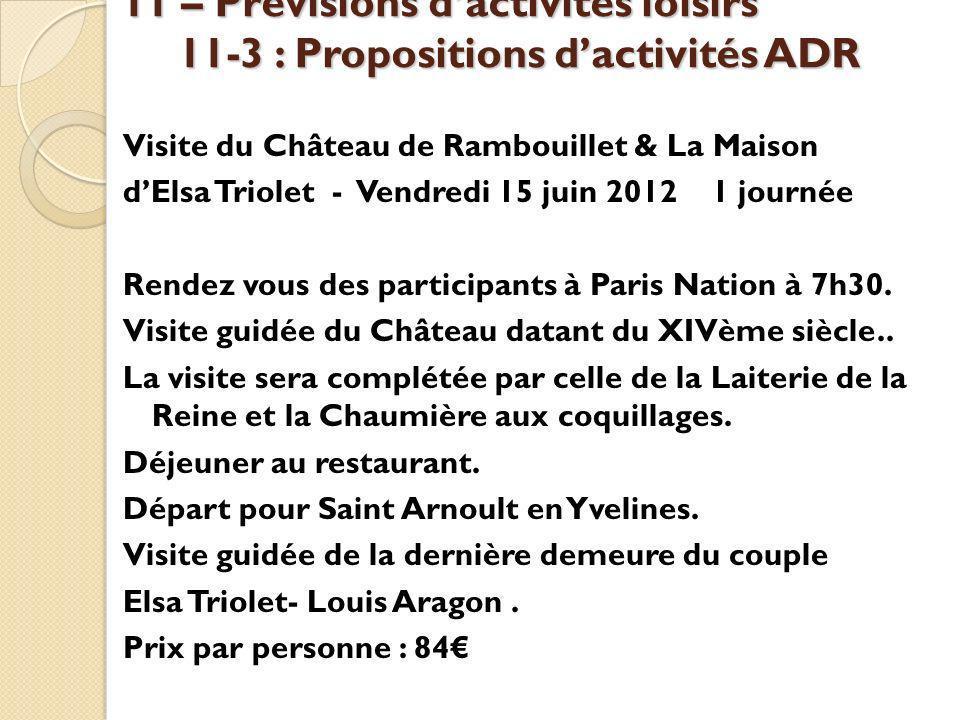 11 – Prévisions d'activités loisirs 11-3 : Propositions d'activités ADR