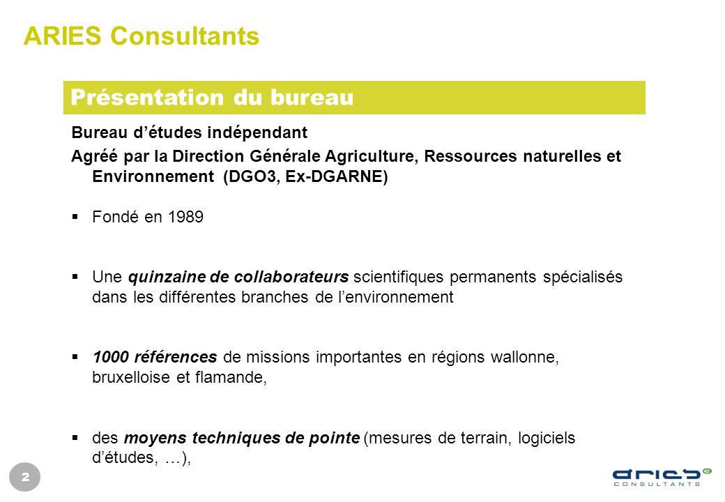 ARIES Consultants Présentation du bureau Bureau d'études indépendant
