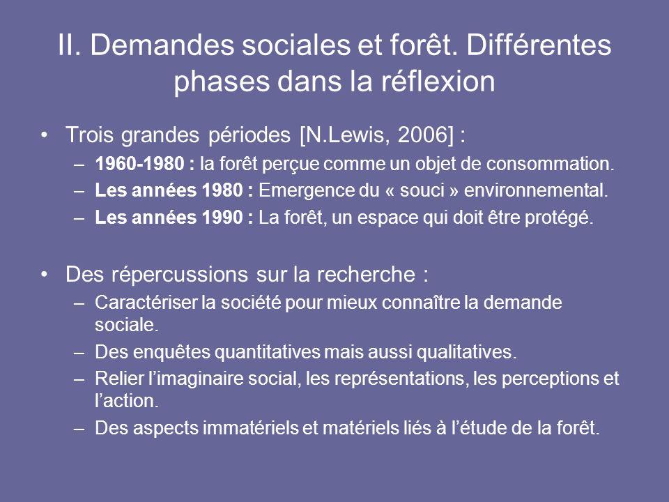 II. Demandes sociales et forêt. Différentes phases dans la réflexion