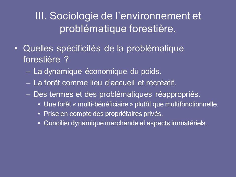 III. Sociologie de l'environnement et problématique forestière.