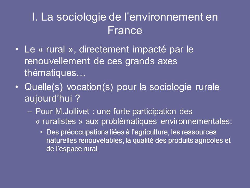 I. La sociologie de l'environnement en France