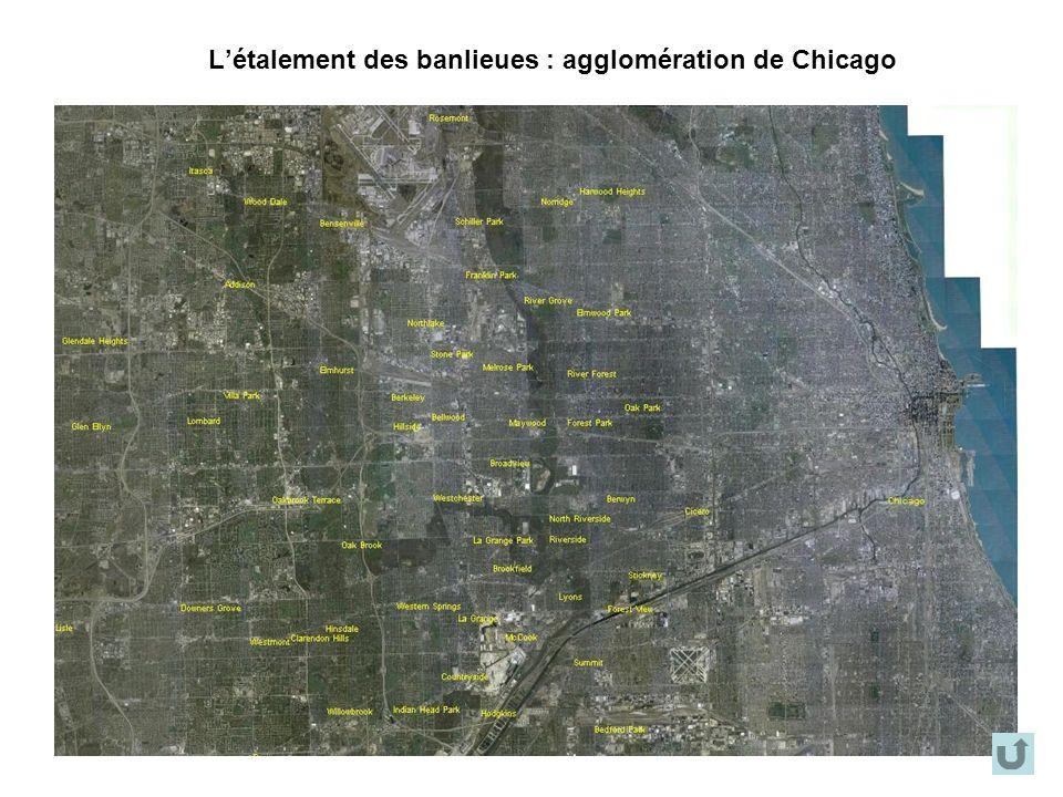 L'étalement des banlieues : agglomération de Chicago