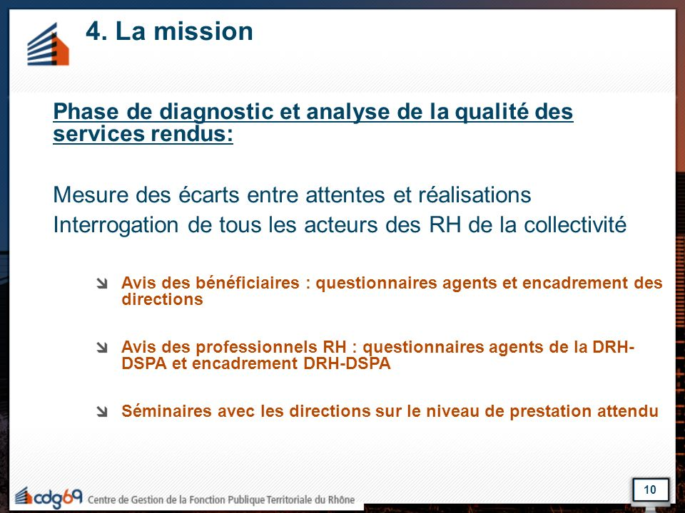 4. La missionPhase de diagnostic et analyse de la qualité des services rendus: Mesure des écarts entre attentes et réalisations.