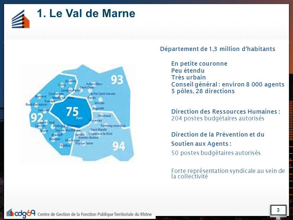 1. Le Val de Marne Département de 1,3 million d'habitants