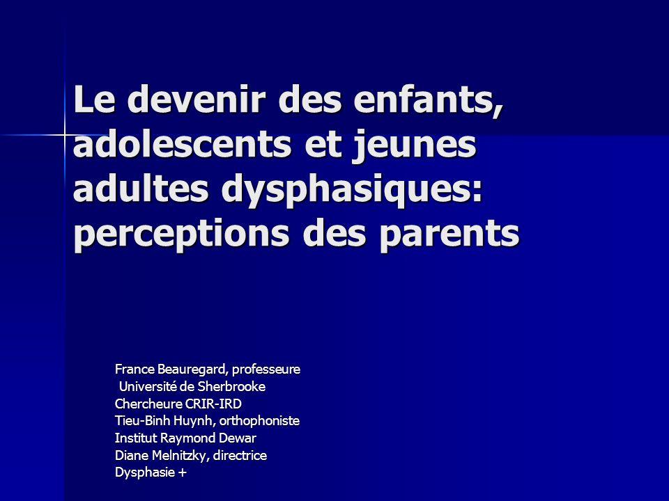 Le devenir des enfants, adolescents et jeunes adultes dysphasiques: perceptions des parents