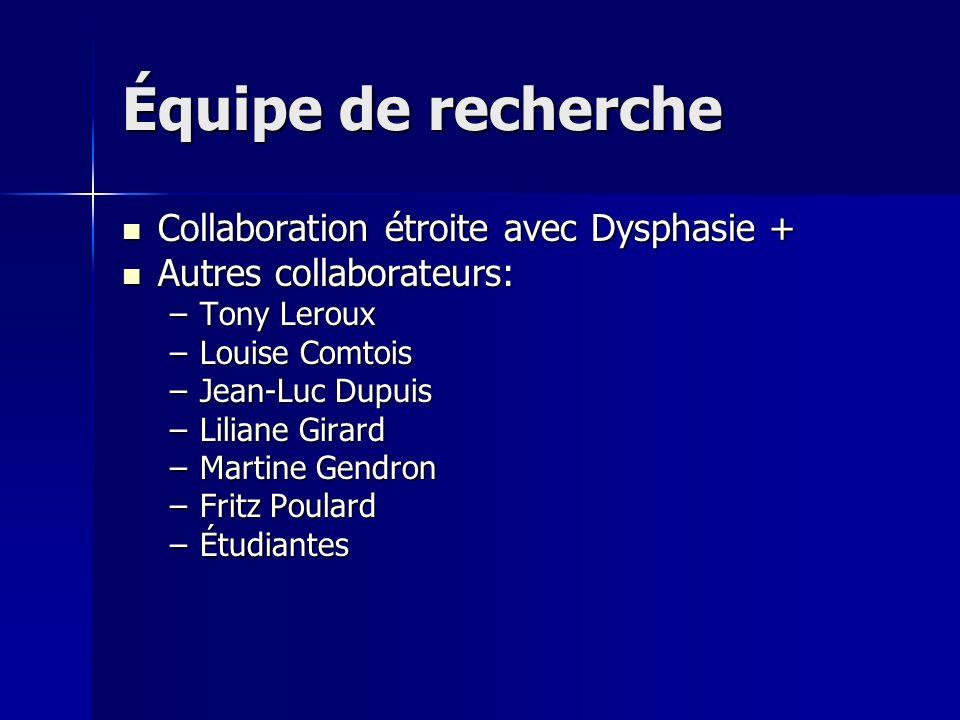 Équipe de recherche Collaboration étroite avec Dysphasie +