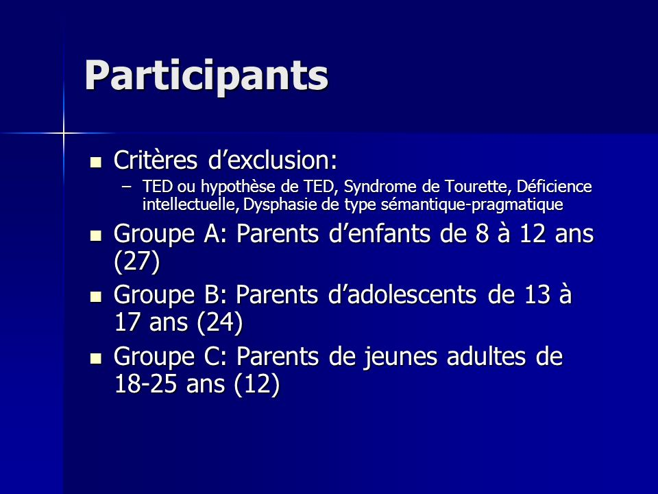 Participants Critères d'exclusion:
