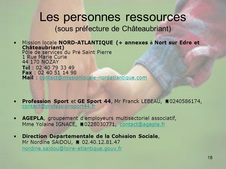 Les personnes ressources (sous préfecture de Châteaubriant)