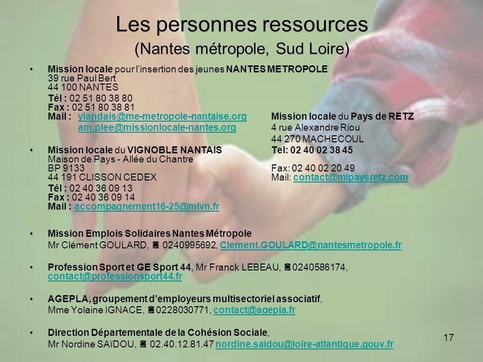 Les personnes ressources (Nantes métropole, Sud Loire)