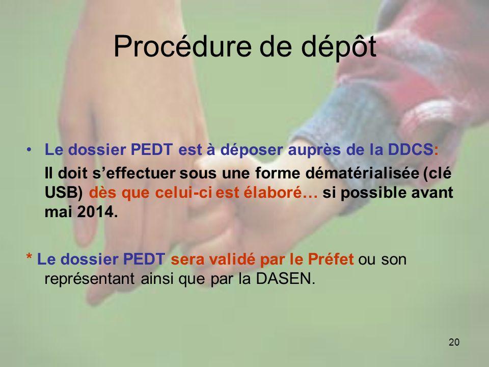 Procédure de dépôt Le dossier PEDT est à déposer auprès de la DDCS: