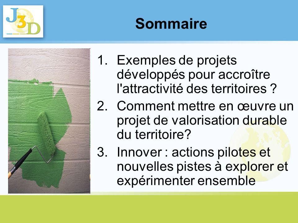 Sommaire Exemples de projets développés pour accroître l attractivité des territoires