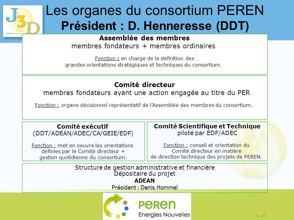 Les organes du consortium PEREN Président : D. Henneresse (DDT)