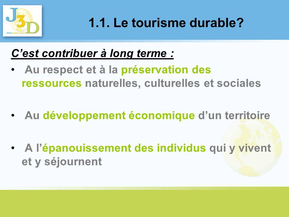 1.1. Le tourisme durable C'est contribuer à long terme :