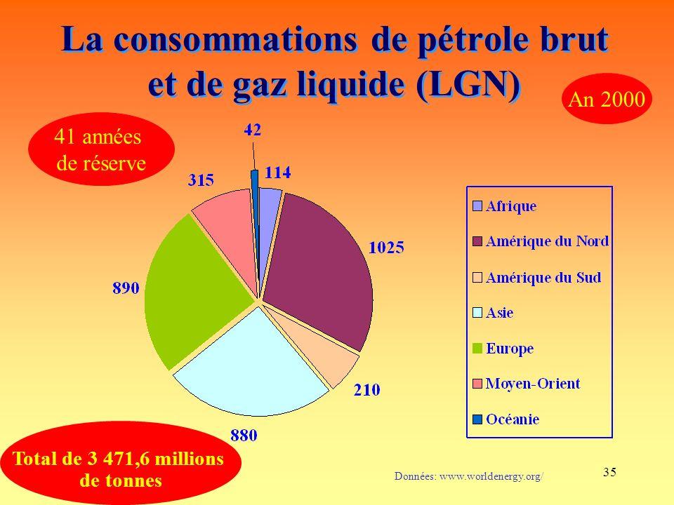 La consommations de pétrole brut et de gaz liquide (LGN)