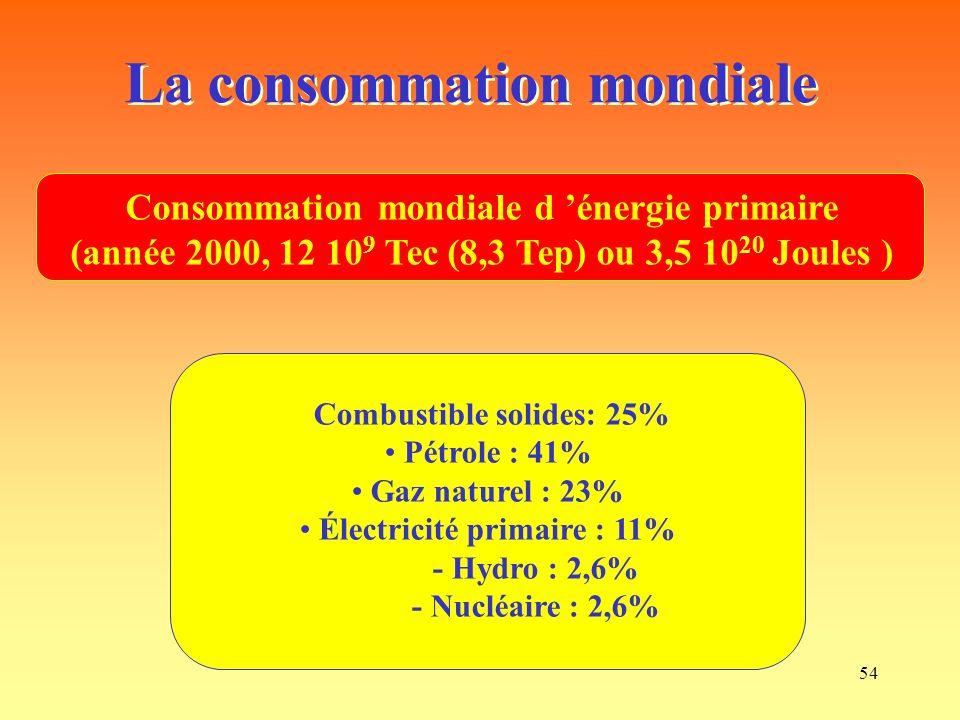 La consommation mondiale