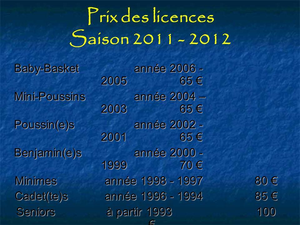 Prix des licences Saison 2011 - 2012