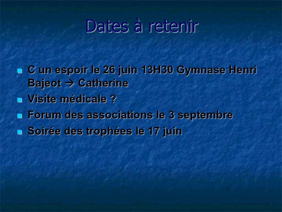 Dates à retenir C un espoir le 26 juin 13H30 Gymnase Henri Bajeot  Catherine. Visite médicale Forum des associations le 3 septembre.
