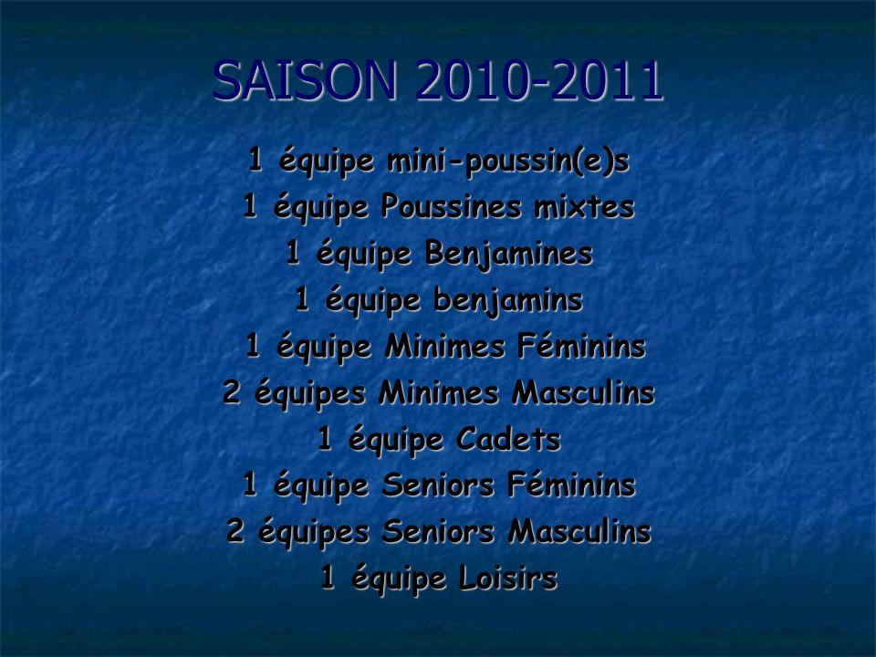 SAISON 2010-2011 1 équipe mini-poussin(e)s 1 équipe Poussines mixtes