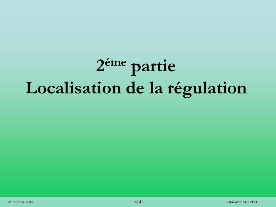 2éme partie Localisation de la régulation