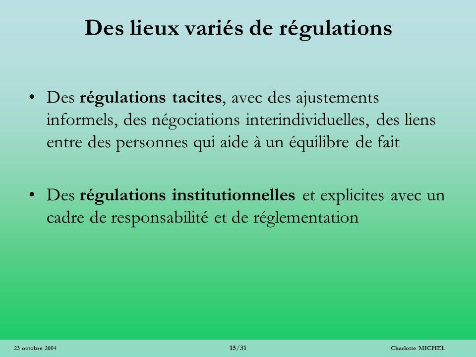 Des lieux variés de régulations