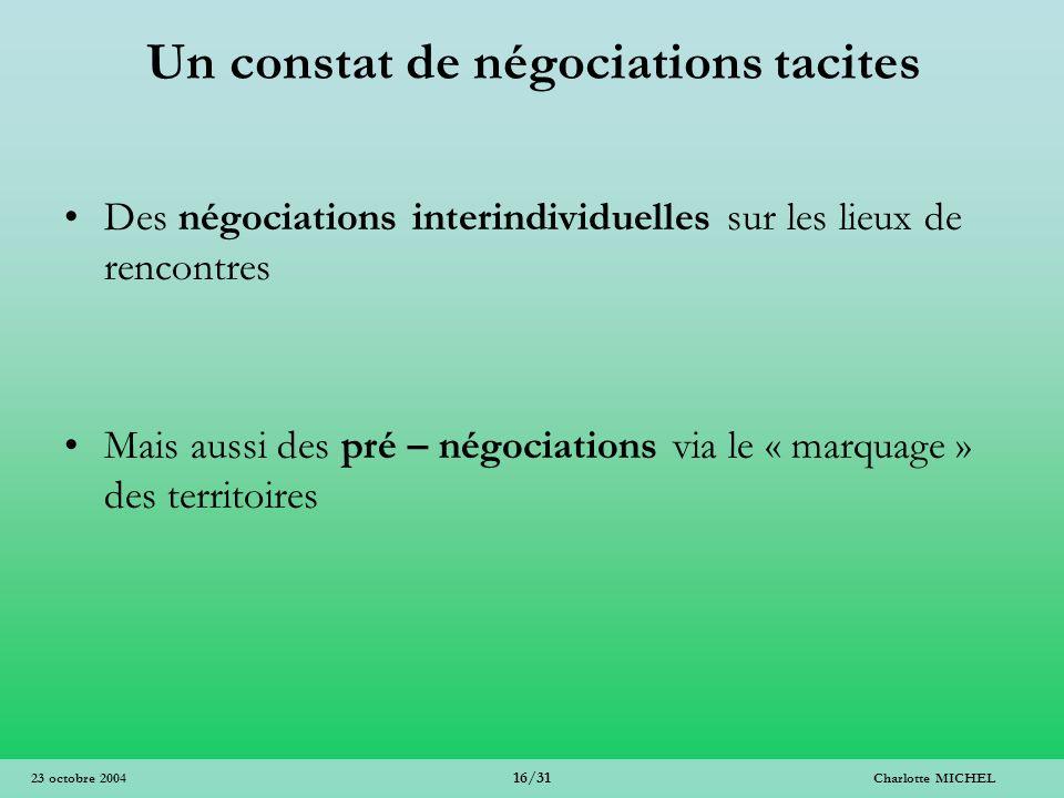 Un constat de négociations tacites