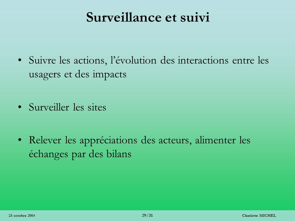 Surveillance et suivi Suivre les actions, l'évolution des interactions entre les usagers et des impacts.