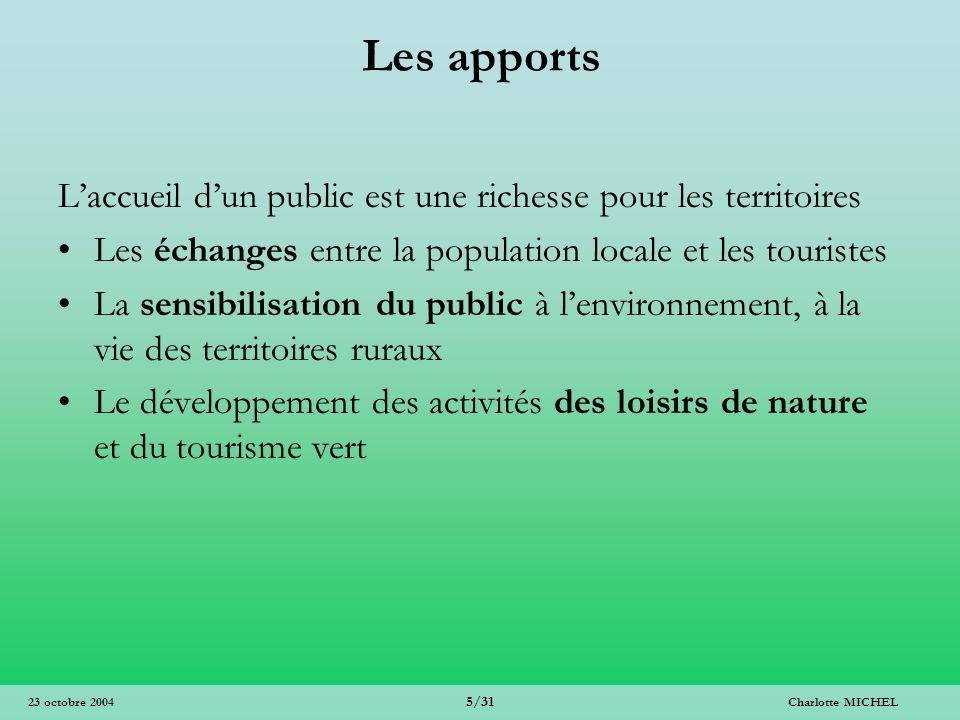 Les apports L'accueil d'un public est une richesse pour les territoires. Les échanges entre la population locale et les touristes.