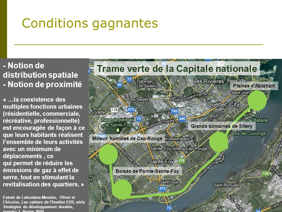 Conditions gagnantes Trame verte de la Capitale nationale