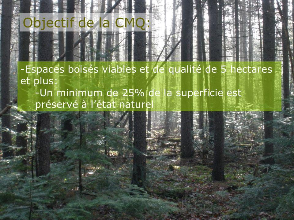 Objectif de la CMQ: Espaces boisés viables et de qualité de 5 hectares et plus: Un minimum de 25% de la superficie est préservé à l'état naturel.