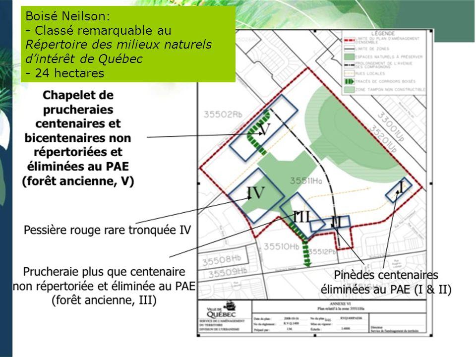Boisé Neilson: - Classé remarquable au Répertoire des milieux naturels d'intérêt de Québec.