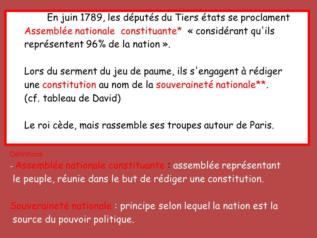 En juin 1789, les députés du Tiers états se proclament