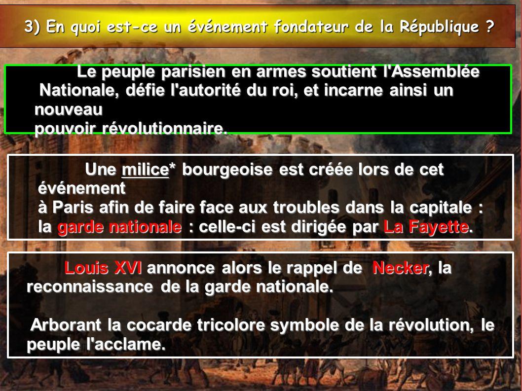 3) En quoi est-ce un événement fondateur de la République
