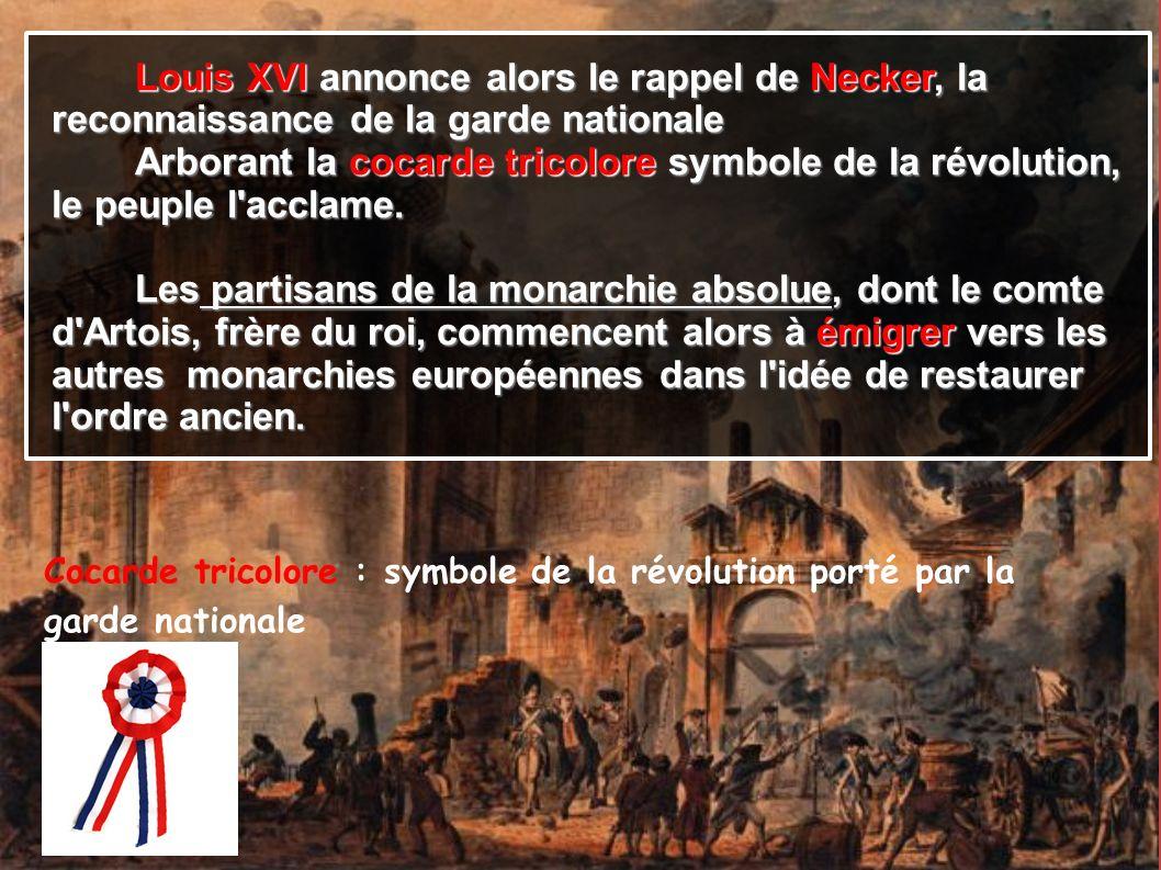Louis XVI annonce alors le rappel de Necker, la